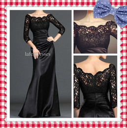 Wholesale In Store Hot Sale Lace Pleat Black Long Sleeve Mermaid Prom Dresses Mother of the Bride Dresses DH6131
