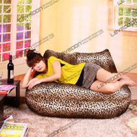 Wholesale leopard print bean bag chairs loveseat sofa bean bag velvet love seats bean bag furniture Double Sofa