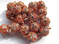Wholesale round margnetic clasp rose gold mixed with rainbow rhinestone connectors mm