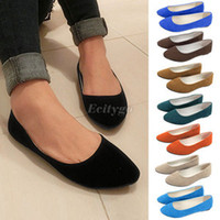 Wholesale Womens faux Suede Pump Ladies Ballet Ballerina Flat Pump Dolly Shoes Ex5
