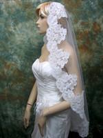 Wholesale Single Tier Ivory Veil - Hot Sale Mantilla Single Layer Alencon Lace Fingertip Length Wedding Bridal Veils 1 Tier Lace Trim Transparent Tulle Bridal Accessory Veil