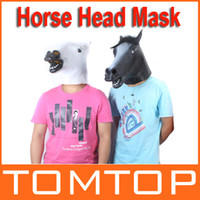 Wholesale White Black Creepy Funny Latex Horse Head Mask Halloween Costume Party Christmas Theater Prop Freeshipping H9492B W