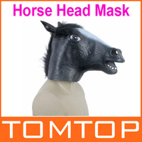 Eco-friendly latex latex - Black Creepy Funny Latex Horse Head Mask Halloween Costume Party Christmas Theater Prop Freeshipping H9492B