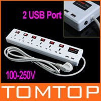 Wholesale 6 Universal Outlet amp USB Charger Port Power Strip Surge Protector Circuit Breaker Freeshipping H9287