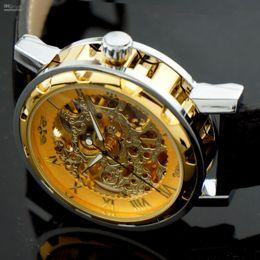 Wholesale 7colors High Class Men K Gold Titanium Flower Skeleton Mechanical Leather Wristwatch Sports Casual Fashion Style Unisex Semi Auto Watches