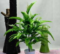Wholesale HOT cm quot Length Artificial Silk Green Plants Simulation Fern Leaf Twelve Stems Per Bush Home Decoration
