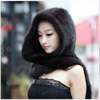 Wholesale Winter warm mink fur scarves female models knit hat scarf piece mink