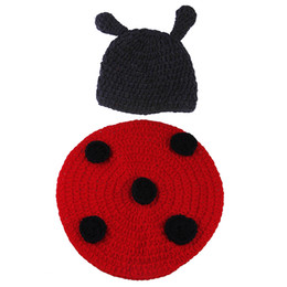 Wholesale Ladybug Hat For Baby - Brand New DEG5*1 Red Ladybug Baby Boy Girl Crochet Aminal Cartoon Beanie Hats Costume Set For Photography Props 0-6 Months
