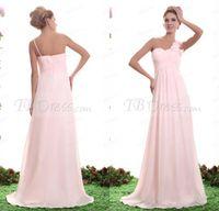 Wholesale Glamorous one shoulder Junior bridesmaid dresses sweep train handmade flowers chiffon beautiful ruffles prom dresses party evening dresses