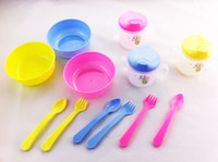 Wholesale Baby products Baby Tableware Set family of four baby bowl cup of baby spoon fork