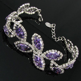 Wholesale leaf purple bracelet wedding Jewelry BB Beauty Paradise Rihood Trading Neoglory silver plated