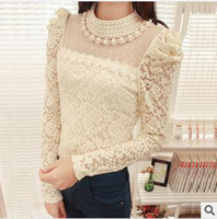 Women Cotton Round 2013 Spring and Autumn the new pearl dot net yarn lace collar long-sleeved shirt bottoming shirt female