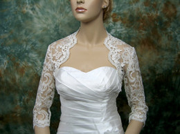 Wholesale Exquisite Lace Wedding Bridal Bolero Jackets High Neck Long Sleeve High Quality Bridal Jacket Wraps Cheap