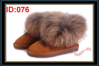 Wholesale Fashion Winter Boot Woman Classic Snow Shoes Waterproof Ankle Boots Soft Fox Fur Round Toe Warm Footwear Comfort Flat Shoe Brown Sale