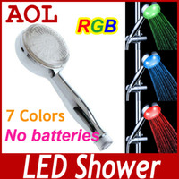 Wholesale Hot LED Shower Head Temperature Control Colors Flower Sprinkling with retail package AS1310