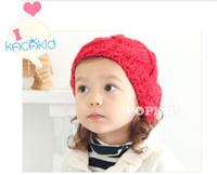 Girl big beret hats - Winter new style Lovely fried dough twist woolen Baby Hat big Rabbit ball beret Kids Cap Children keep warm line cap TS41