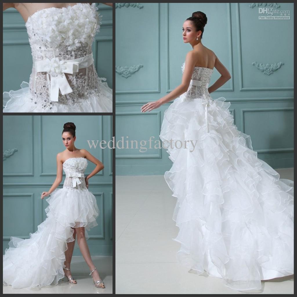High low wedding dress ruffle flowers sheer bridal gown for Hi lo hemline wedding dresses