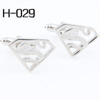 Brass accessories for ties - Men s accessories Fashion Cufflinks High Quality Cufflinks For Men Cuff Links Wholesales Pierced Superman