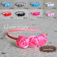 Wholesale Trial Order Satin Covered Plastic Headbands with Triple Satin Rose flower For Toddlers Kids BY QueenBaby