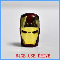 No avengers thumb drive - 64GB Avengers Iron Man Cartoon LED USB Flash Memory Pen Drive Sticks Thumb Drives Disks GB Pendrives Thumbdrives