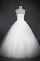 Wholesale Real Sample Factory price Custom Made Beaded Strapless Bouffant Tailing Wedding Dresses