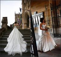 Wholesale 2014 Sexy Backless Sheer vestido de noiva vestidos de novia casamento Fall Winter Spring Bridal Gown with Cathedral Train