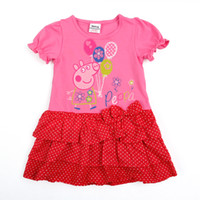 Wholesale Ready to Ship Nova Clothing m y Baby girls dresses Peppa Pig clothing cotton short sleeve cupcake dress with bow polka dot dress