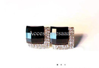 Wholesale Min order is mix order Luxury Fashion Black Stones Crystals Earrings Stud Women Earrings Black E72