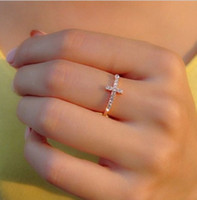 Wholesale Simple Single Rings - Fashion Jewelry Engagement Rings Single- row Diamond Cross Gold Rings Simple temperament Lover Rings