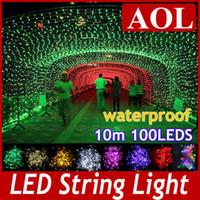 al por mayor luz al aire libre de navidad-Iluminación de interior al aire libre 110V 220V 9 colores 10m cadena luces LED de vacaciones Decoración de fiesta de la boda de la Navidad blanca 100 Año Nuevo