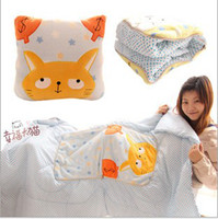 Coral Fleece Home all Bran-New Custom made Cute Cartoon Character 100*150 cm Air Conditioning Cotton Blanket Quilt Dual Plush Cushion Pillow