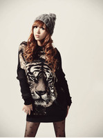 Chiffon,Polyester batwing jumper black - Hot Fashion Tiger Print Batwing Sleeve Knitted Tops Pullover Sweater Jumper