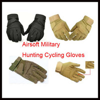 Wholesale Full Finger Tactical Sports Airsoft Military Hunting Cycling Gloves Black Hot Sale Black Tan Amy Green