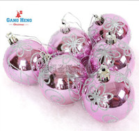 Wholesale Hot Sale New Christmas tree decoration cm pink silver light colored drawing quality ball cm g