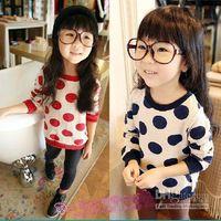 dgh - Korea girls fashion woollen sweater children round collar pullover kids long sleeve tops popular autumn clothing red black dgh