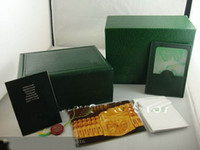 Wholesale dark freen Watch Box Gift case for rolex watches booklet card tags and papers in english