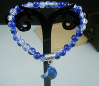 Wholesale Cheap Sale Stylish mm Round Blue White Glass Crackle Beads Moon Pendant Bracelets a0012