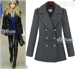 new OL slim Double-breasted women's coats women's trench coats womens coats Women's Outwear woolen coat black
