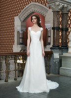 Wholesale New arrivals Portrait chiffon A Line applique Backless Chapel Wedding Dresses Bridal dress Ball Gown Empire Wedding Dresses GA976