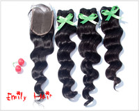 Indian Hair Natural Color Loose Wave Fast Free Shipping Grade 5A Indian Remy Hair Weave Loose Wave Hair Lace Closure With 3pcs Lot Hair Bundles Natural Color Full Head