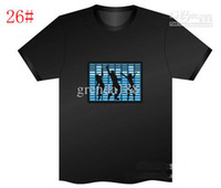 Wholesale Christmas Gift Party Using Sound Activated Flashing Up amp Down LED Light music EL T Shirt