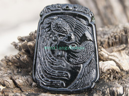 Natural dark green jade. Hand-carved (trapezoidal) pendant. Amulet Phoenix dance, pendant necklace. 51x38x4mm