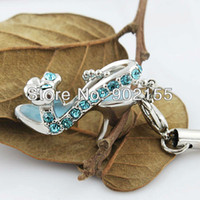 Wholesale 2013 Latest lovely with blue rhinestone shoes design alloy charm
