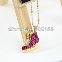 Wholesale Fashion vintage Jewelry Gold Color Alloy Created Crystal Skate Shoes Pendant Necklace For Women Christmas Gifts