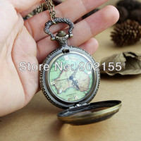 Wholesale 2013 new antique fashion design flower back and map shape openable pocket watch