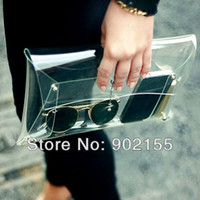 Women Plain PVC New 2013 Summer Fashion Unisex PVC Transparent Envelope Clutch ipad Clear Color Bag Handbag For Women