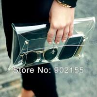 Wholesale New Summer Fashion Unisex PVC Transparent Envelope Clutch ipad Clear Color Bag Handbag For Women