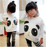 Wholesale girls popular outfits panda long sleeve t shirt leggings sets children suits cool garment kids lovely costume autumn clothi