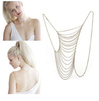 Wholesale 1PC Fashion Women Punk Silvery Body Chain Waist Shoulder Tassel Chain Harness Bib Necklace Body Jewelry JA20018