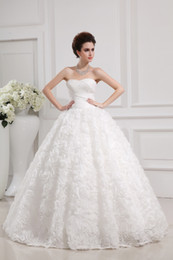 Wholesale 2015 Fall Wedding Dresses In Stock Ball Gown Tulle Beading Hand Made Flowers Pleat Sequins Cathedral Train Bridal Gowns Dress for Bride